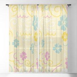Custom Yellow Aloha Hawaii Floral Pattern Sheer Curtain