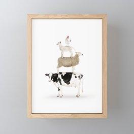Four Stacked Farm Animals Framed Mini Art Print
