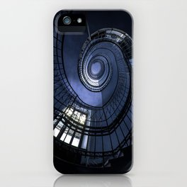 Blue spiral staircase iPhone Case