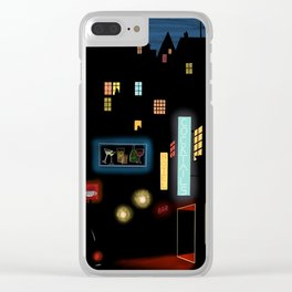 Late Night Neon Lights Clear iPhone Case