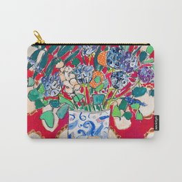 Wildflowers in a Lion Vase on Red Floral Still Life Painting After Matisse Carry-All Pouch