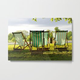 {deck chairs in hyde park} Metal Print