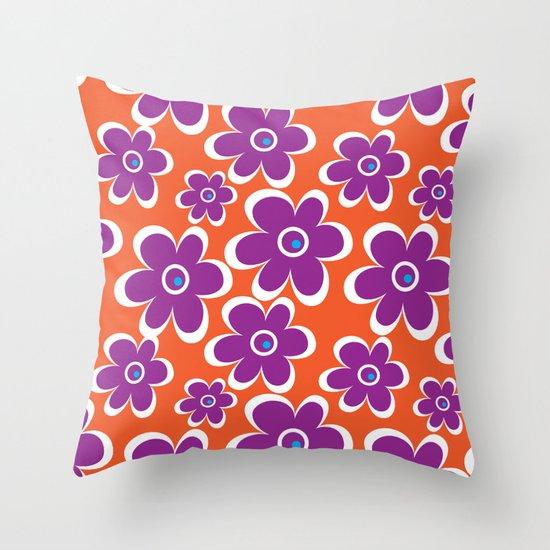 retro purple flower Throw Pillow