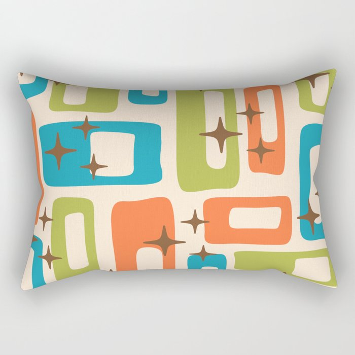 Retro Mid Century Modern Abstract Pattern 921 Orange Chartreuse Turquoise Rectangular Pillow