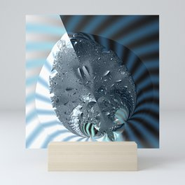 Metallic shine on a yin yang type fractal form Mini Art Print