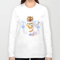 tiger Long Sleeve T-shirts featuring Tiger by Anna Shell