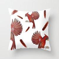 cardinal Throw Pillows featuring Cardinal by Jody Edwards Art