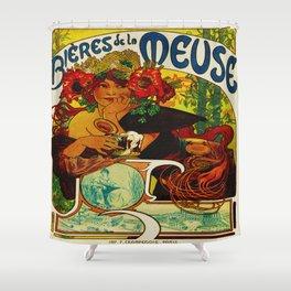 Vintage Art Nouveau Beer Ad Shower Curtain