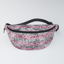 Pink and Silver Glitter Sequin Stripes Fanny Pack