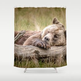 Big Beautiful Grizzly Bear Relaxing In Green Meadow Close Up Ultra HD Shower Curtain