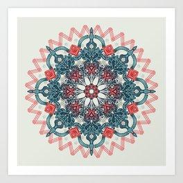 Coral & Teal Tangle Medallion Art Print