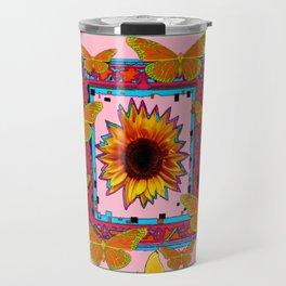 SOUTHWEST ART BUTTERFLIES SUNFLOWERS Travel Mug