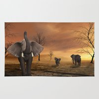 elephants Area & Throw Rugs featuring Elephants by Susann Mielke