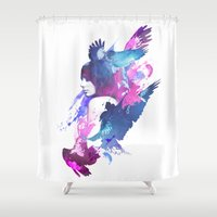 fight Shower Curtains featuring Bloody Fight by Robert Farkas
