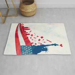 new york city symbol on USA flag Rug