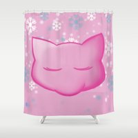 mew Shower Curtains featuring Silent Night: Mew by Constanzze