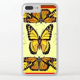 ORIGINAL DESIGN  ABSTRACT OF YELLOW & ORANGE MONARCH BUTTERFLIES BROWN ART Clear iPhone Case