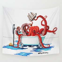 Bath Time Red Wall Tapestry