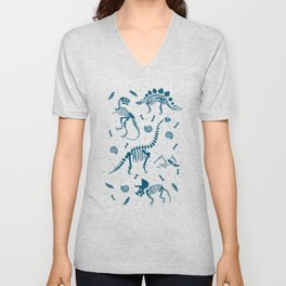 Dinosaur Fossils in Blue Unisex V-Neck