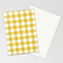 Plaid Pattern 512 Mustard Yellow Stationery Cards
