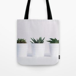 Minimalist White Potted Succulents Tote Bag