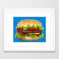 burger Framed Art Prints featuring burger by Shanna Dunn