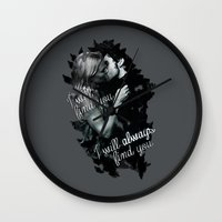 captain swan Wall Clocks featuring Once Upon a Time Captain Swan by Cursed Rose