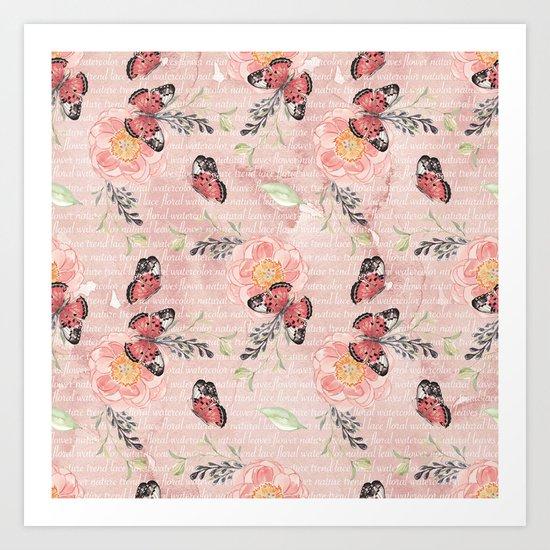 Flowers & butterflies #1 Art Print