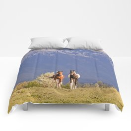 Paint Horses and Western Landscape Photograph Comforters