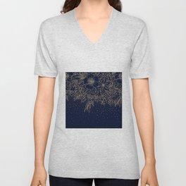 Cute Gold Floral Doodles & confetti Blue Design Unisex V-Neck