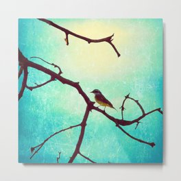 The Bird (Textured blue sky and little bird in a branch tree) Metal Print