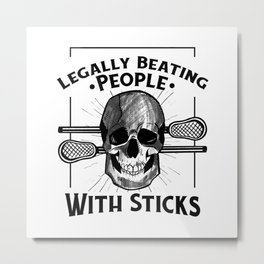 Lacrosse Skull for Lacrosse Lovers Metal Print