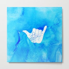 Surf Hang Loose Hawaiian Ocean Blue Hip Watercolor Metal Print