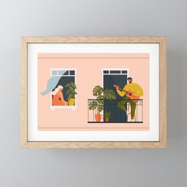 People on balconies. Stay home.  Framed Mini Art Print