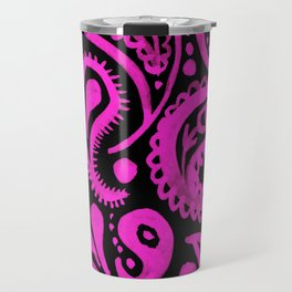 Handpainted Paisley Pattern Pink and Black Color Travel Mug