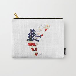 Girl Lacrosse Art American Flag Colorful Watercolor Sports Art Carry-All Pouch