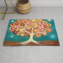 Tree of life with colorful abstract circles Rug