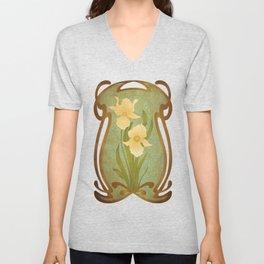 Art Nouveau Flowers Unisex V-Neck