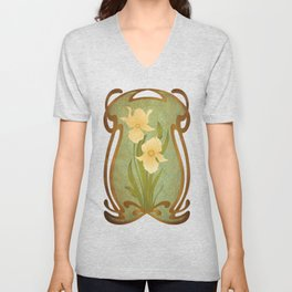 Art Nouveau Flowers Unisex V-Neck