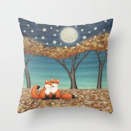cuddly foxes Throw Pillow