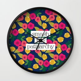 Smash the Patriarchy Floral Wall Clock