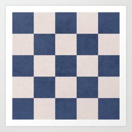 blue checks Art Print