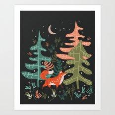Evergreen Fox Tale Art Print