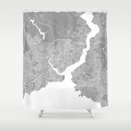 Istanbul map grey Shower Curtain