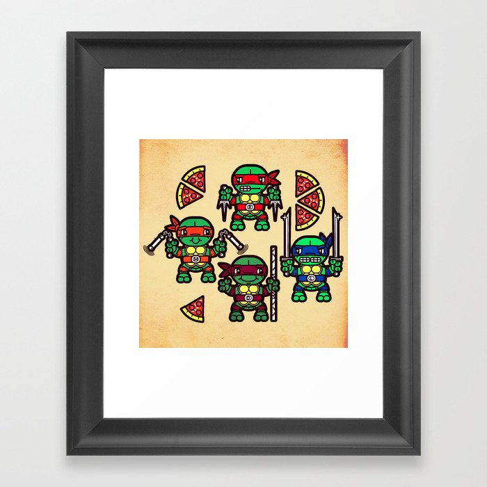 Teenage Mutant Ninja Turtles Pizza Party Framed Art Print By