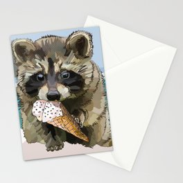 Raccoon Eating Ice-cream on the Beach | Summer Vacation | Cute Baby Animal Stationery Cards