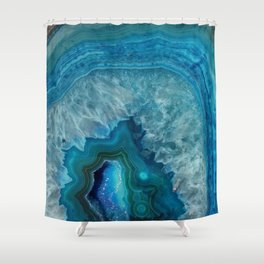 Blue agate marble faux druse crystal quartz gem gemstone geode mineral stone photograph hipster Shower Curtain
