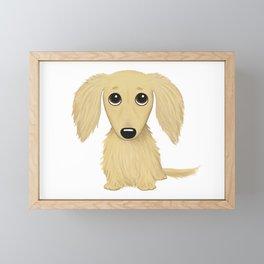 Longhaired Cream Dachshund Cartoon Dog Framed Mini Art Print