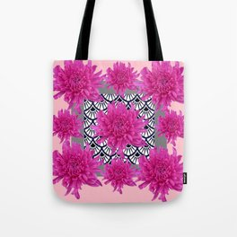 GREY ART DECO FUCHSIA CHRYSANTHEMUM FLORAL Tote Bag