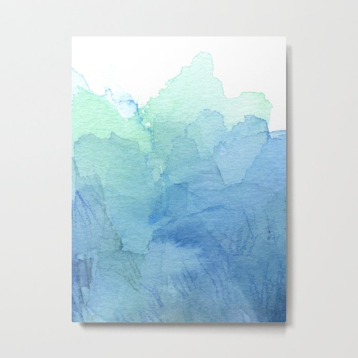 Abstract Watercolor Texture Blue Green Sea Sky Colors Metal Print